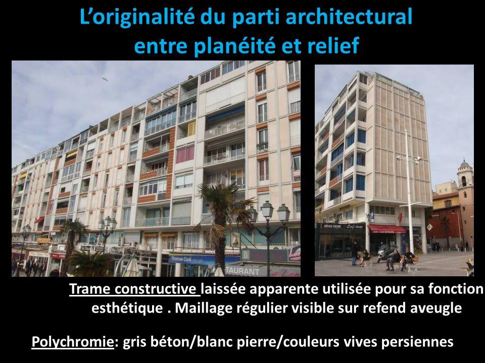 Loriginalité du parti architectural entre planéité et relief Trame constructive laissée apparente utilisée pour sa fonction esthétique. Maillage régul