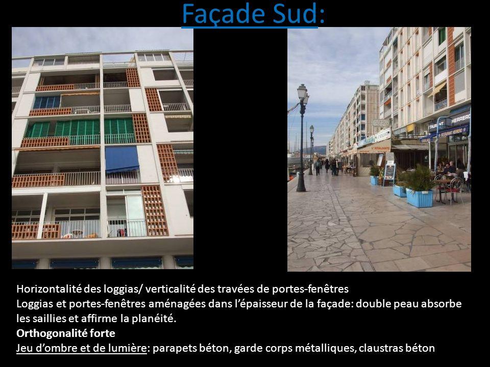 Horizontalité des loggias/ verticalité des travées de portes-fenêtres Loggias et portes-fenêtres aménagées dans lépaisseur de la façade: double peau a