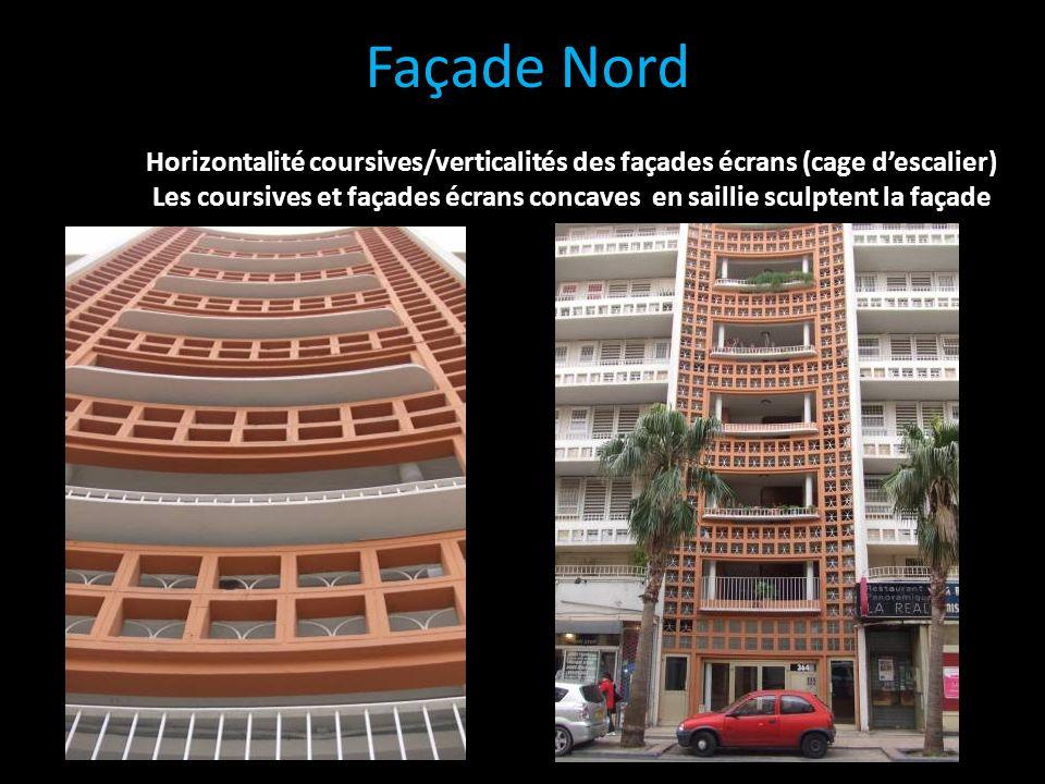 Façade Nord Horizontalité coursives/verticalités des façades écrans (cage descalier) Les coursives et façades écrans concaves en saillie sculptent la