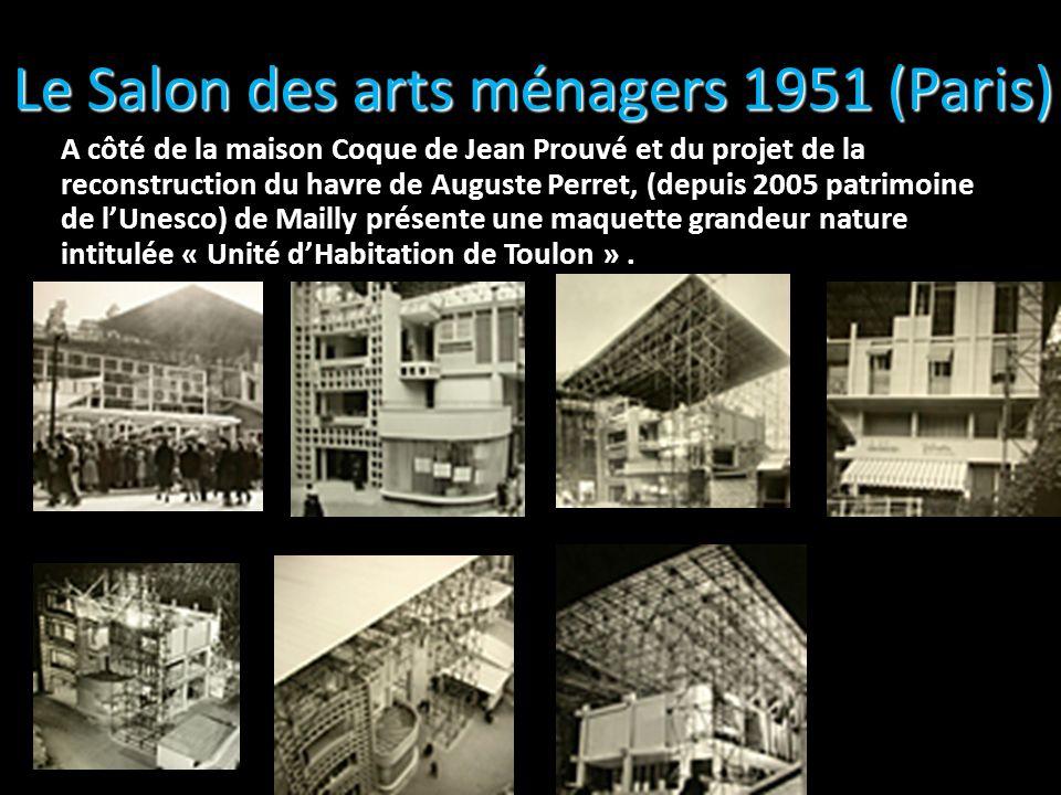 Le Salon des arts ménagers 1951 (Paris) A côté de la maison Coque de Jean Prouvé et du projet de la reconstruction du havre de Auguste Perret, (depuis