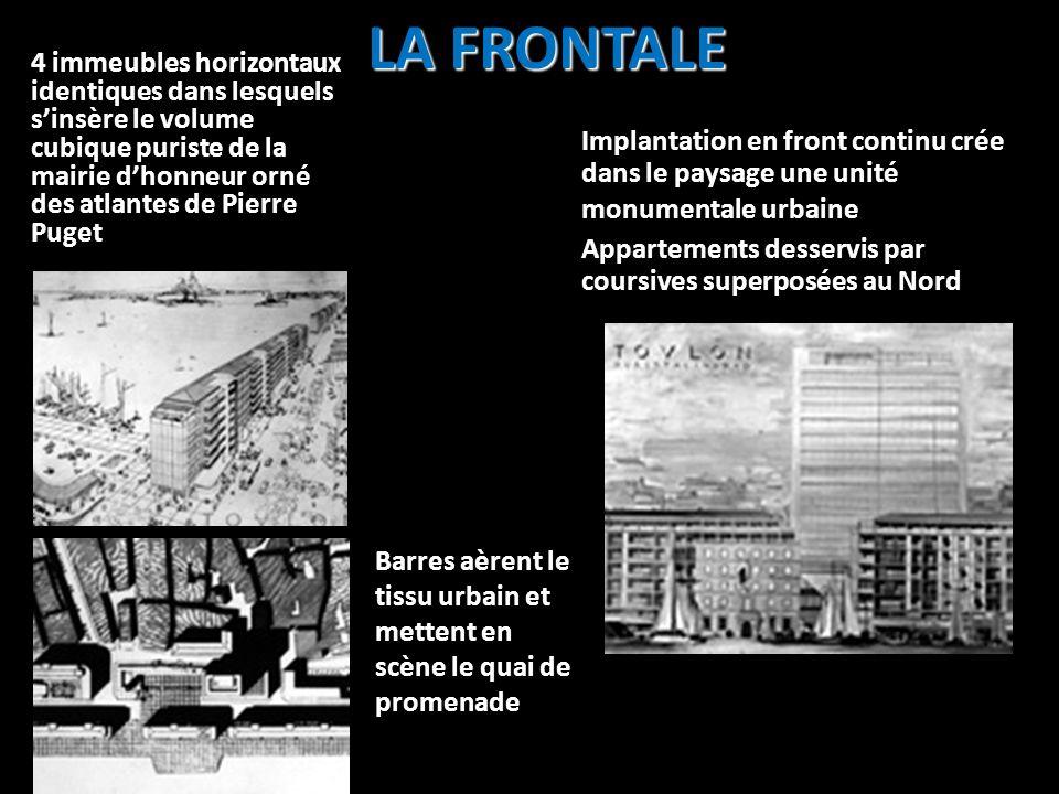 LA FRONTALE 4 immeubles horizontaux identiques dans lesquels sinsère le volume cubique puriste de la mairie dhonneur orné des atlantes de Pierre Puget