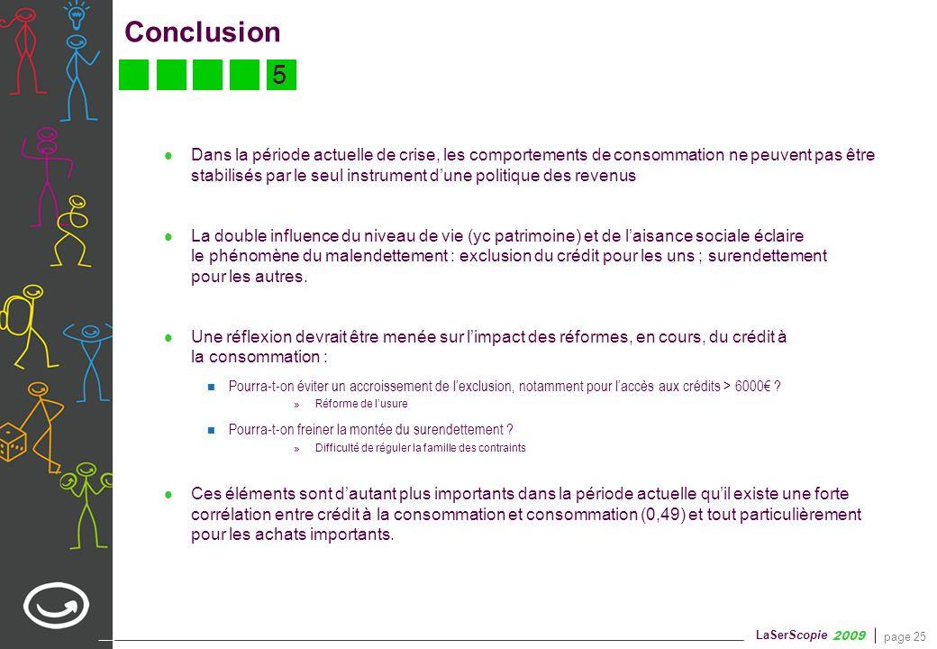 page 25 LaSerScopie 2009 Conclusion Dans la période actuelle de crise, les comportements de consommation ne peuvent pas être stabilisés par le seul in
