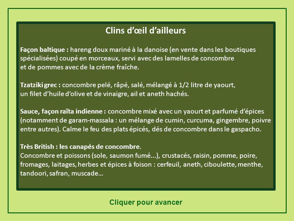 Suggestions d'utilisation Idées dici Salade de concombre râpé : raisins secs (1/2 tasse), 1/4 c. à café de cumin en poudre et une vinaigrette au citro
