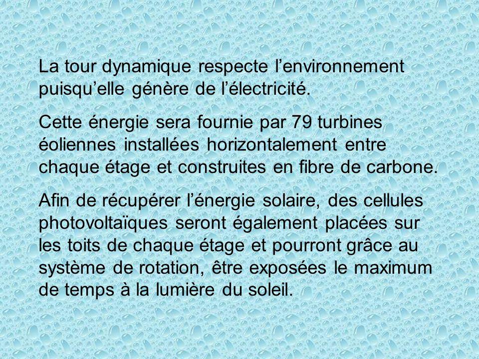 La tour dynamique respecte lenvironnement puisquelle génère de lélectricité.