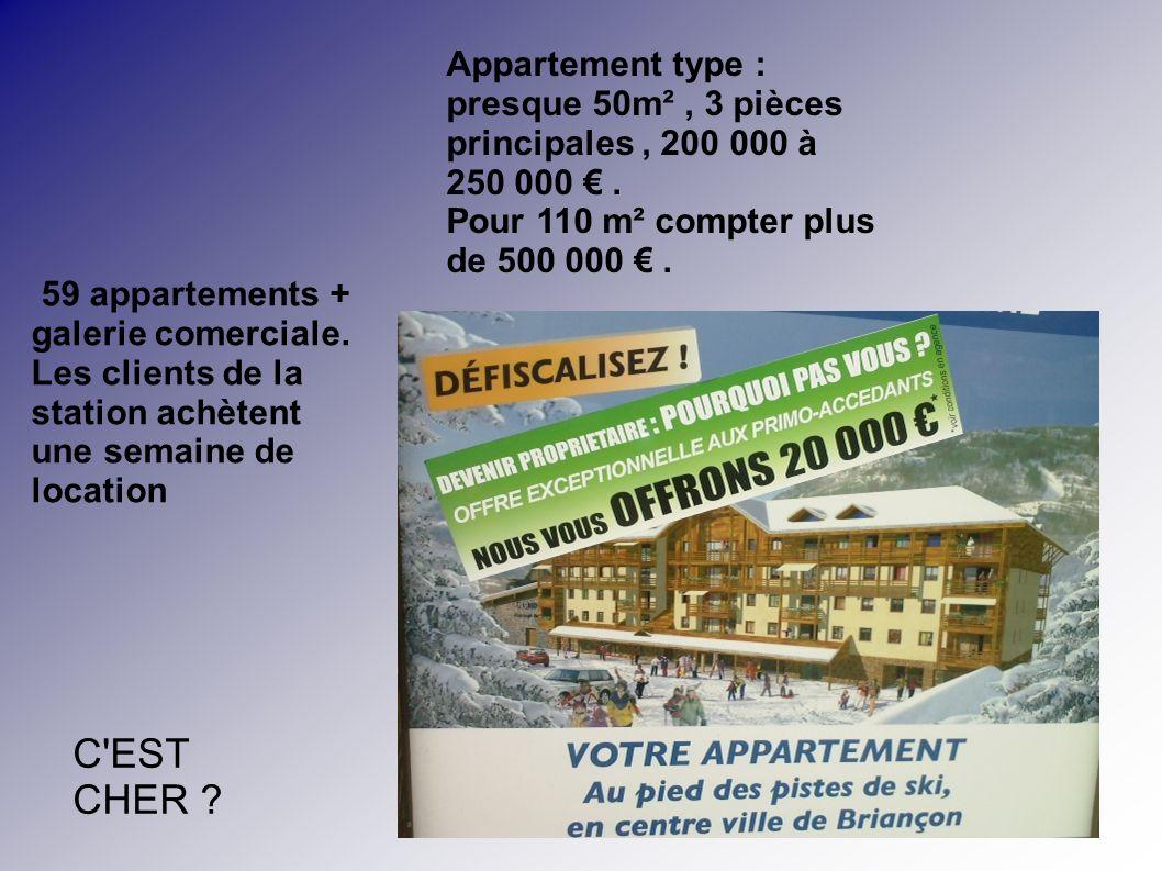 59 appartements + galerie comerciale. Les clients de la station achètent une semaine de location Appartement type : presque 50m², 3 pièces principales