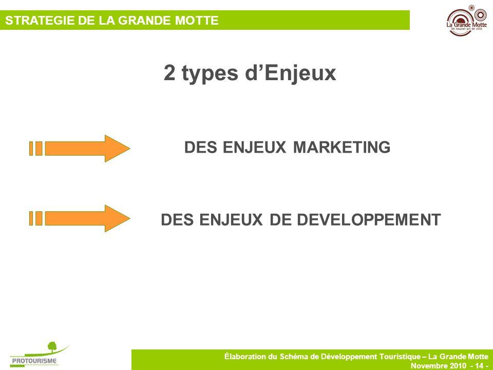 14 Élaboration du Schéma de Développement Touristique – La Grande Motte Novembre 2010 - 14 - STRATEGIE DE LA GRANDE MOTTE 2 types dEnjeux DES ENJEUX M