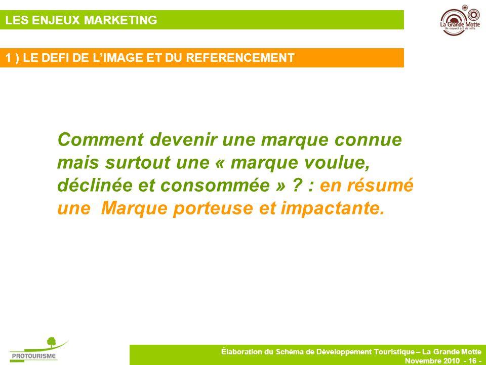 16 Élaboration du Schéma de Développement Touristique – La Grande Motte Novembre 2010 - 16 - Comment devenir une marque connue mais surtout une « marq