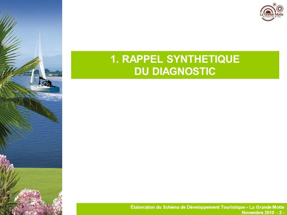 3 Élaboration du Schéma de Développement Touristique – La Grande Motte Novembre 2010 - 3 - RAPPEL SYNTHETIQUE DU DIAGNOSTIC DE LA GRANDE MOTTE 16% des lits touristiques à La Grande Motte sont des lits marchands.