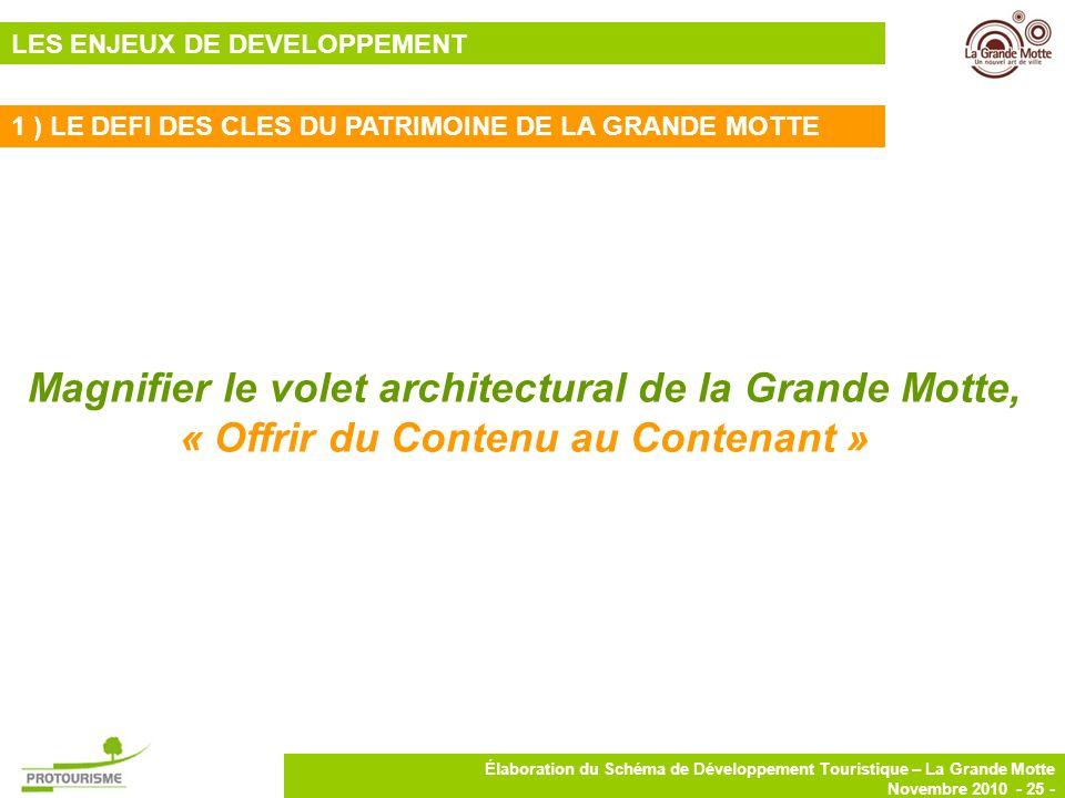 25 Élaboration du Schéma de Développement Touristique – La Grande Motte Novembre 2010 - 25 - 1 ) LE DEFI DES CLES DU PATRIMOINE DE LA GRANDE MOTTE Mag