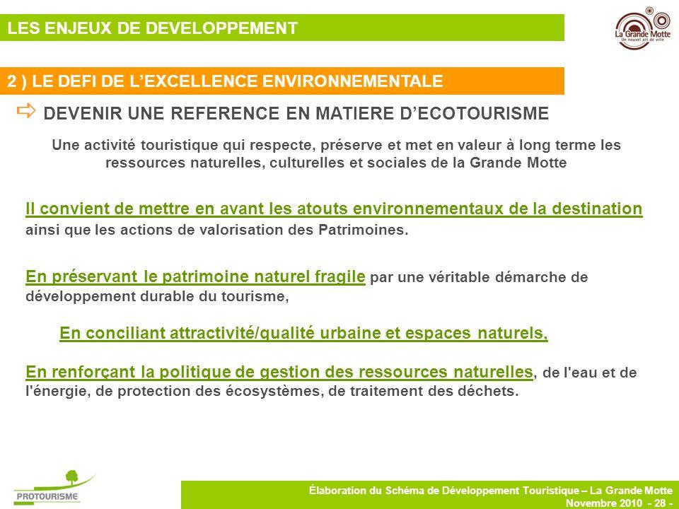28 Élaboration du Schéma de Développement Touristique – La Grande Motte Novembre 2010 - 28 - DEVENIR UNE REFERENCE EN MATIERE DECOTOURISME Une activit