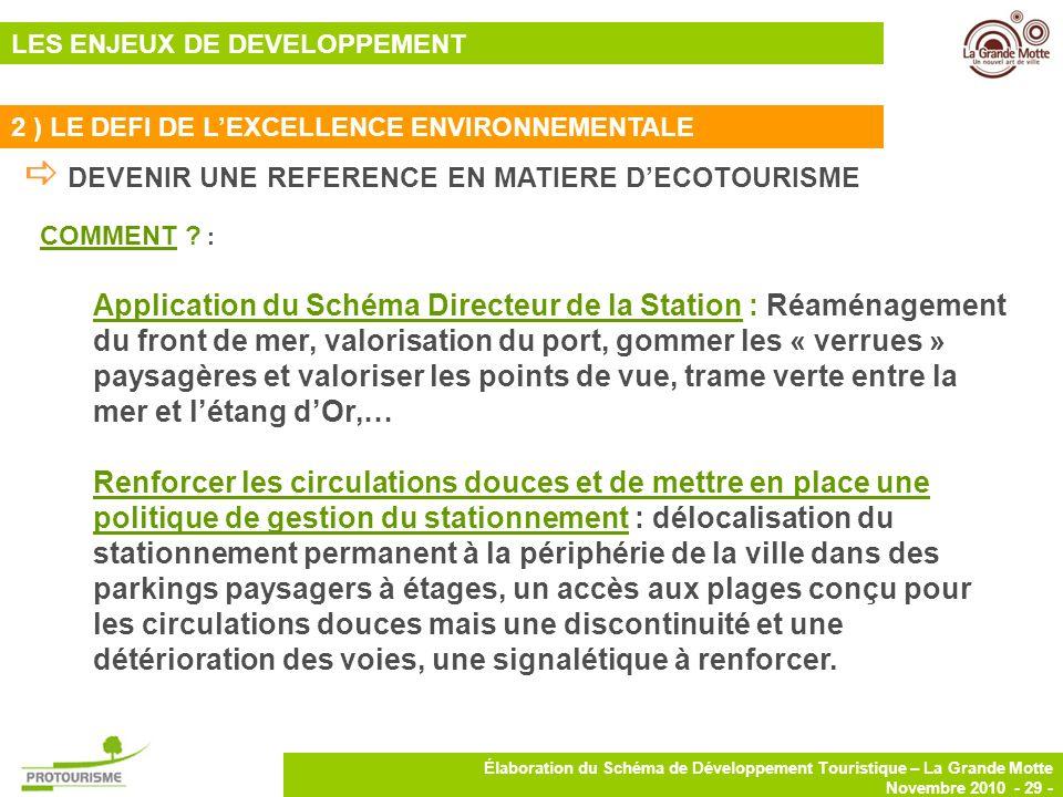 29 Élaboration du Schéma de Développement Touristique – La Grande Motte Novembre 2010 - 29 - COMMENT ? : Application du Schéma Directeur de la Station