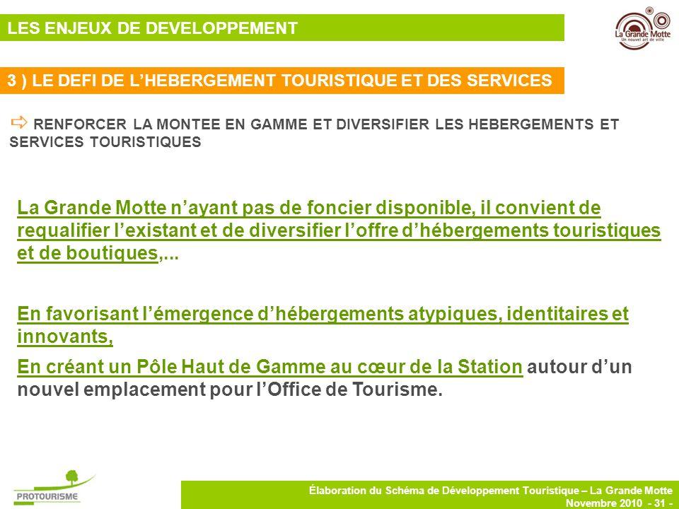 31 Élaboration du Schéma de Développement Touristique – La Grande Motte Novembre 2010 - 31 - RENFORCER LA MONTEE EN GAMME ET DIVERSIFIER LES HEBERGEME