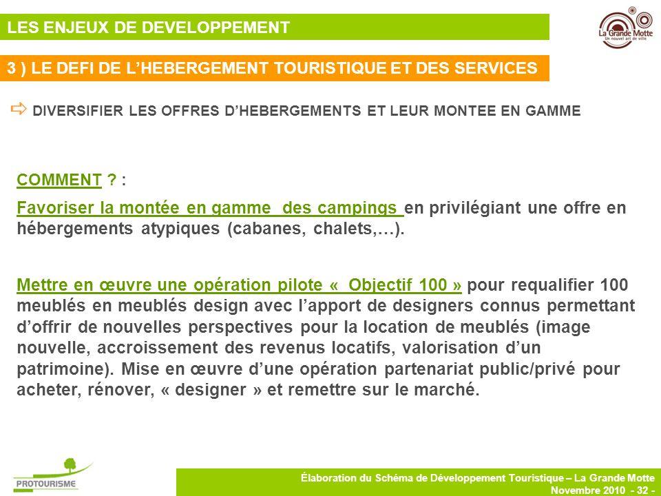 32 Élaboration du Schéma de Développement Touristique – La Grande Motte Novembre 2010 - 32 - COMMENT ? : Favoriser la montée en gamme des campings en