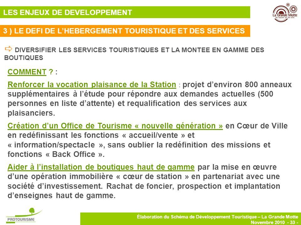 33 Élaboration du Schéma de Développement Touristique – La Grande Motte Novembre 2010 - 33 - DIVERSIFIER LES SERVICES TOURISTIQUES ET LA MONTEE EN GAM