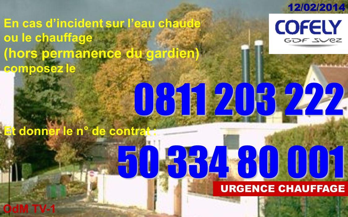 OdM TV-1 12/02/2014 URGENCE ASCENSEURS En cas dincident sur un ascenseur (hors permanence du gardien) composez le 0811 711 711 sans oublier le n° de l
