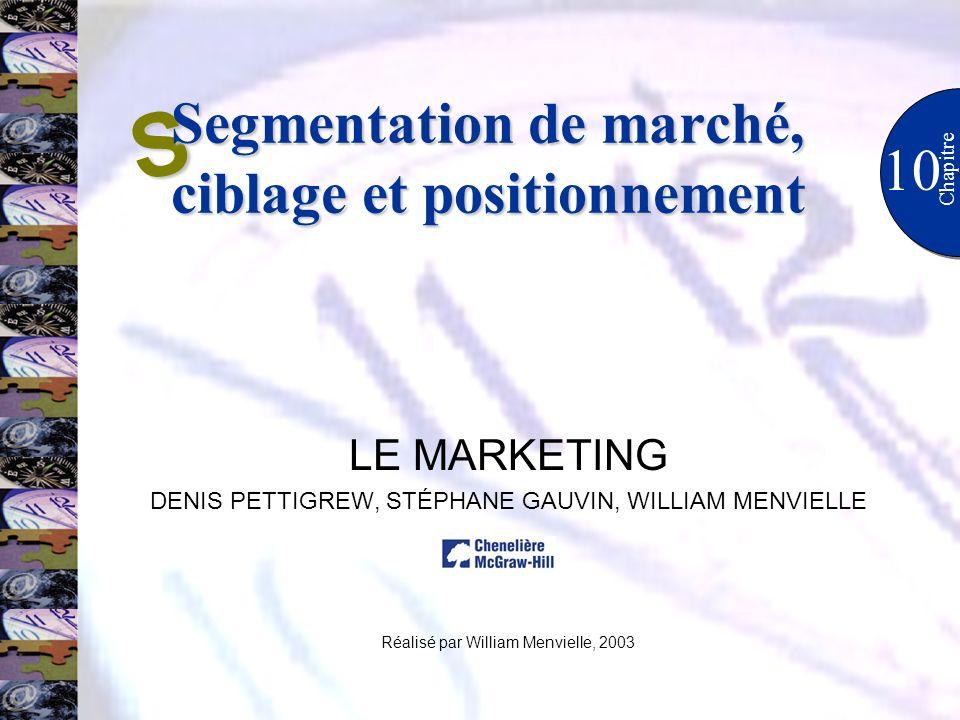 10 Chapitre LE MARKETING DENIS PETTIGREW, STÉPHANE GAUVIN, WILLIAM MENVIELLE Réalisé par William Menvielle, 2003 S Segmentation de marché, ciblage et positionnement