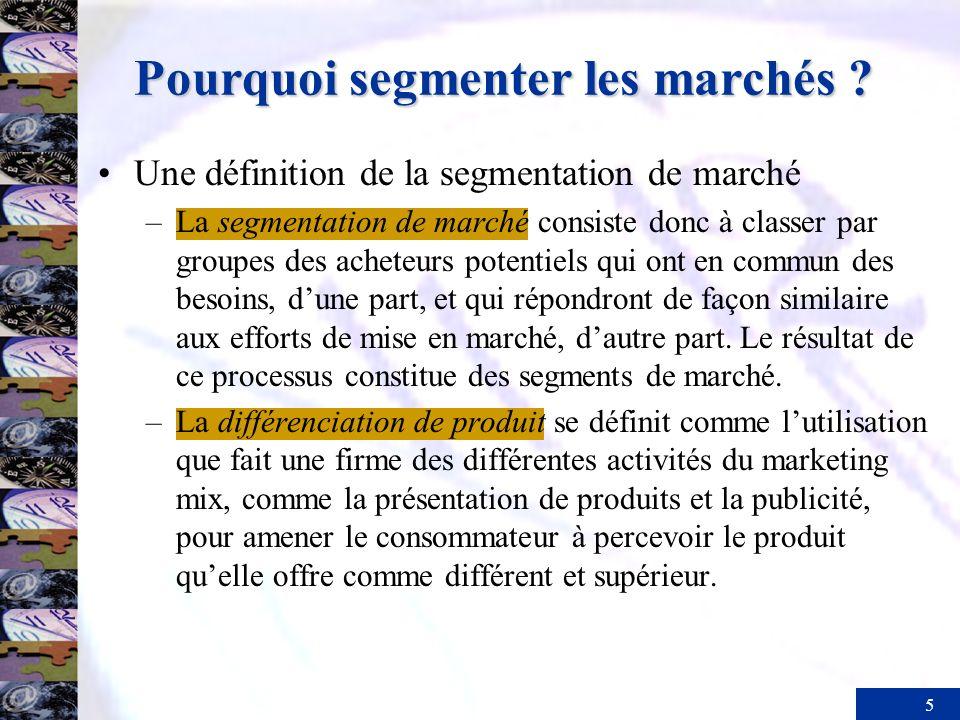 5 Pourquoi segmenter les marchés ? Une définition de la segmentation de marché –La segmentation de marché consiste donc à classer par groupes des ache