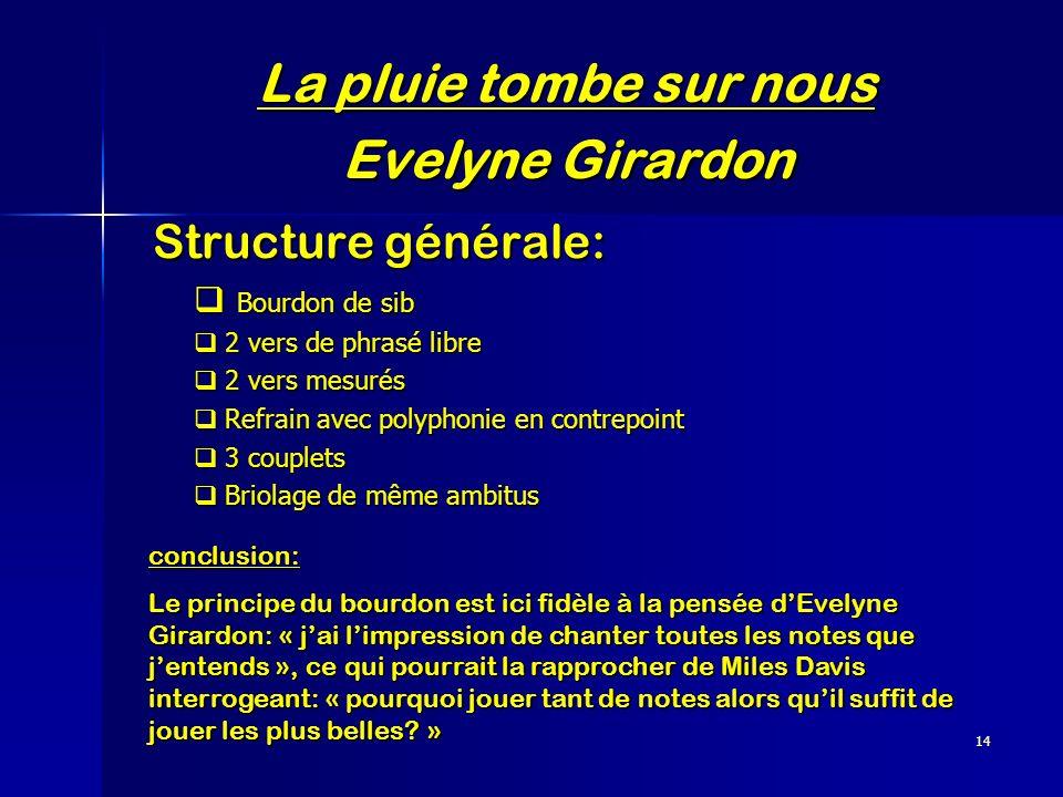14 La pluie tombe sur nous Evelyne Girardon Structure générale: Structure générale: Bourdon de sib Bourdon de sib 2 vers de phrasé libre 2 vers de phr