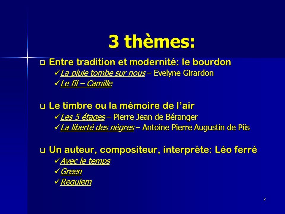 2 3 thèmes: Entre tradition et modernité: le bourdon Entre tradition et modernité: le bourdon – Evelyne Girardon La pluie tombe sur nous – Evelyne Gir