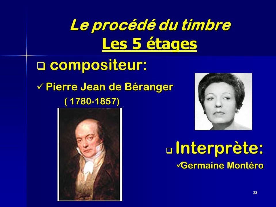 23 Le procédé du timbre Les 5 étages compositeur: compositeur: Pierre Jean de Béranger Pierre Jean de Béranger ( 1780-1857) Interprète: Interprète: Ge
