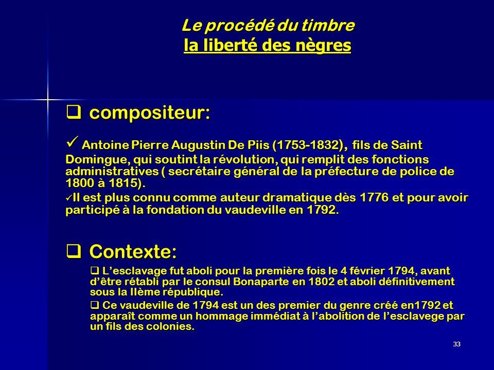 33 Le procédé du timbre la liberté des nègres compositeur: compositeur: Antoine Pierre Augustin De Piis (1753-1832 ), fils de Saint Domingue, qui sout