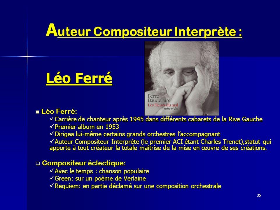 35 A uteur Compositeur Interprète : Léo Ferré Léo Ferré: Léo Ferré: Carrière de chanteur après 1945 dans différents cabarets de la Rive Gauche Carrièr