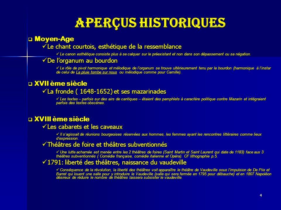 4 Aperçus historiques Moyen-Age Moyen-Age Le chant courtois, esthétique de la ressemblance Le chant courtois, esthétique de la ressemblance Le canon e