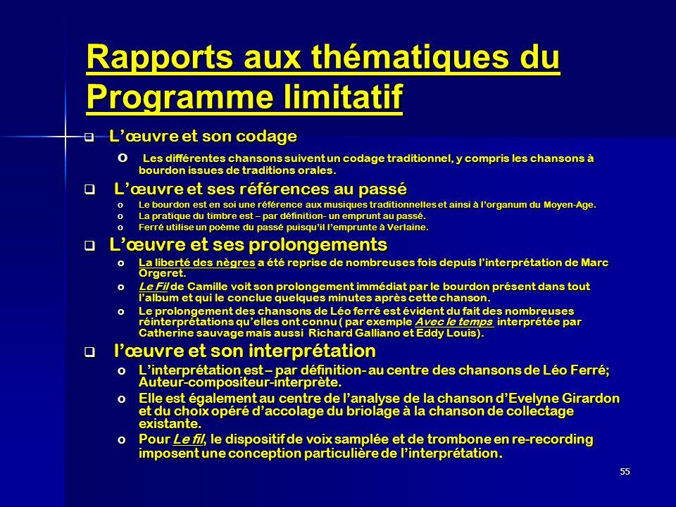 55 Rapports aux thématiques du Programme limitatif Lœuvre et son codage Lœuvre et son codage o Les différentes chansons suivent un codage traditionnel