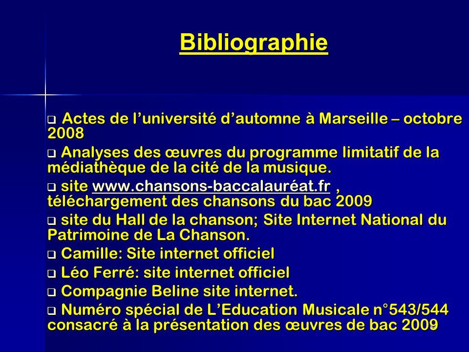 56 Bibliographie Actes de luniversité dautomne à Marseille – octobre 2008 Actes de luniversité dautomne à Marseille – octobre 2008 Analyses des œuvres
