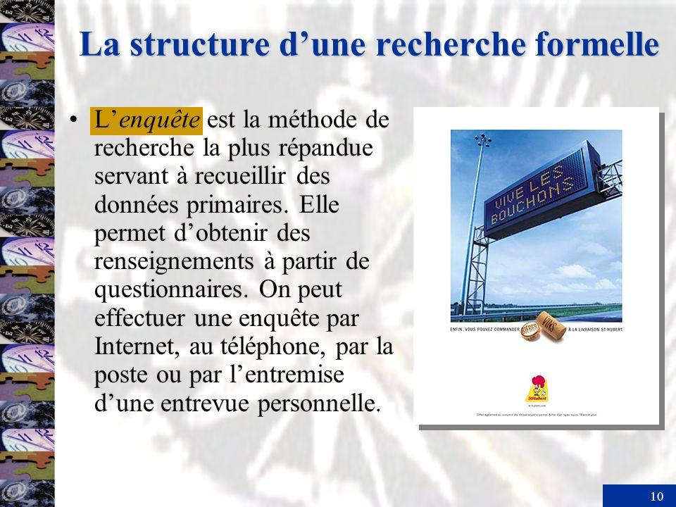 10 La structure dune recherche formelle Lenquête est la méthode de recherche la plus répandue servant à recueillir des données primaires.