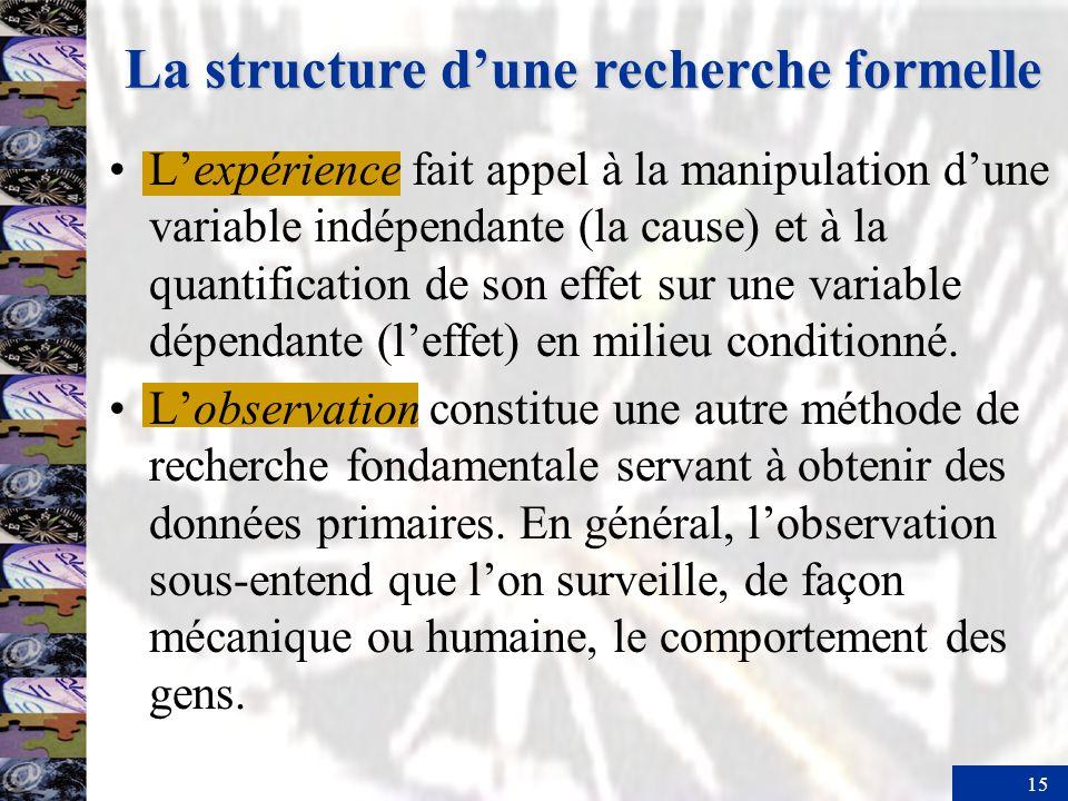 15 Lexpérience fait appel à la manipulation dune variable indépendante (la cause) et à la quantification de son effet sur une variable dépendante (leffet) en milieu conditionné.