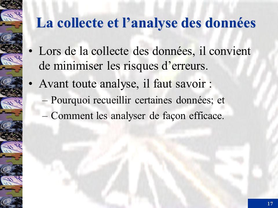 17 La collecte et lanalyse des données Lors de la collecte des données, il convient de minimiser les risques derreurs.