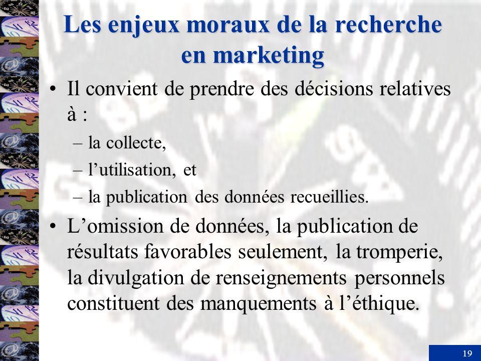 19 Les enjeux moraux de la recherche en marketing Il convient de prendre des décisions relatives à : –la collecte, –lutilisation, et –la publication des données recueillies.