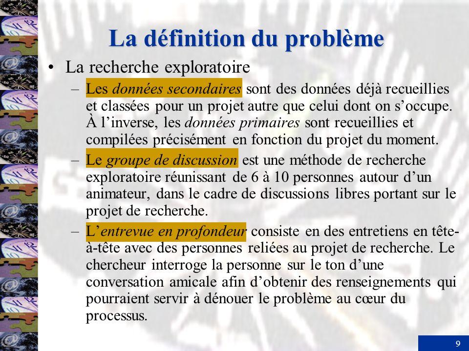 9 La définition du problème La recherche exploratoire –Les données secondaires sont des données déjà recueillies et classées pour un projet autre que celui dont on soccupe.