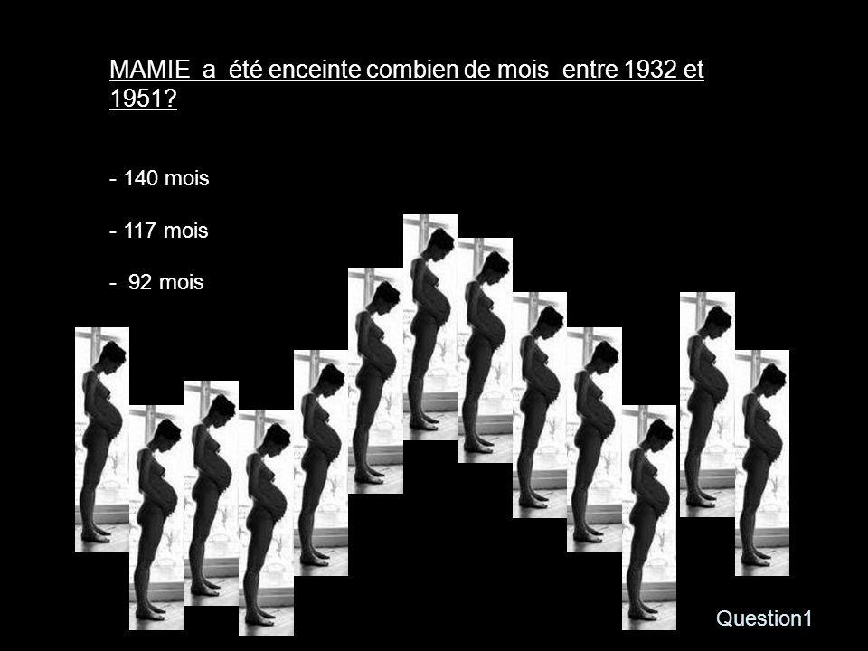 Question1 MAMIE a été enceinte combien de mois entre 1932 et 1951? - 140 mois - 117 mois - 92 mois