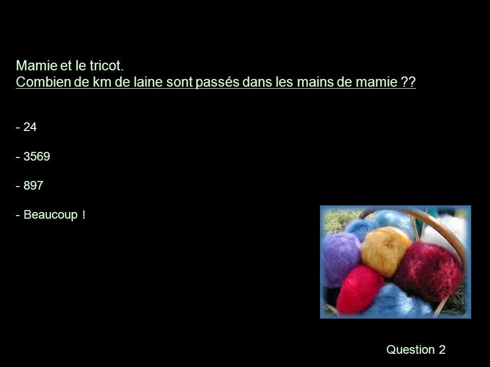 Question 2 Mamie et le tricot.Combien de km de laine sont passés dans les mains de mamie ?.