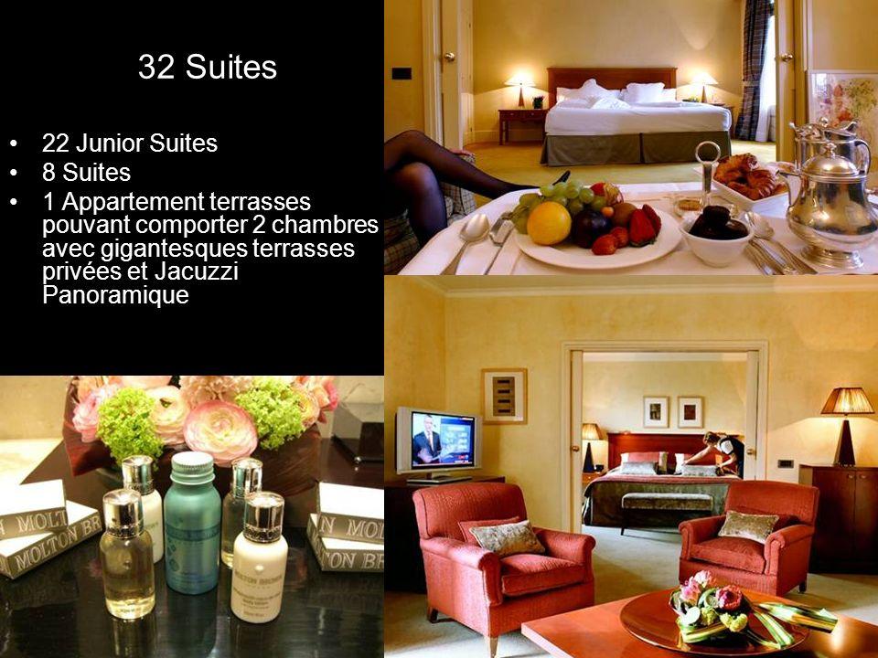 32 Suites 22 Junior Suites 8 Suites 1 Appartement terrasses pouvant comporter 2 chambres avec gigantesques terrasses privées et Jacuzzi Panoramique