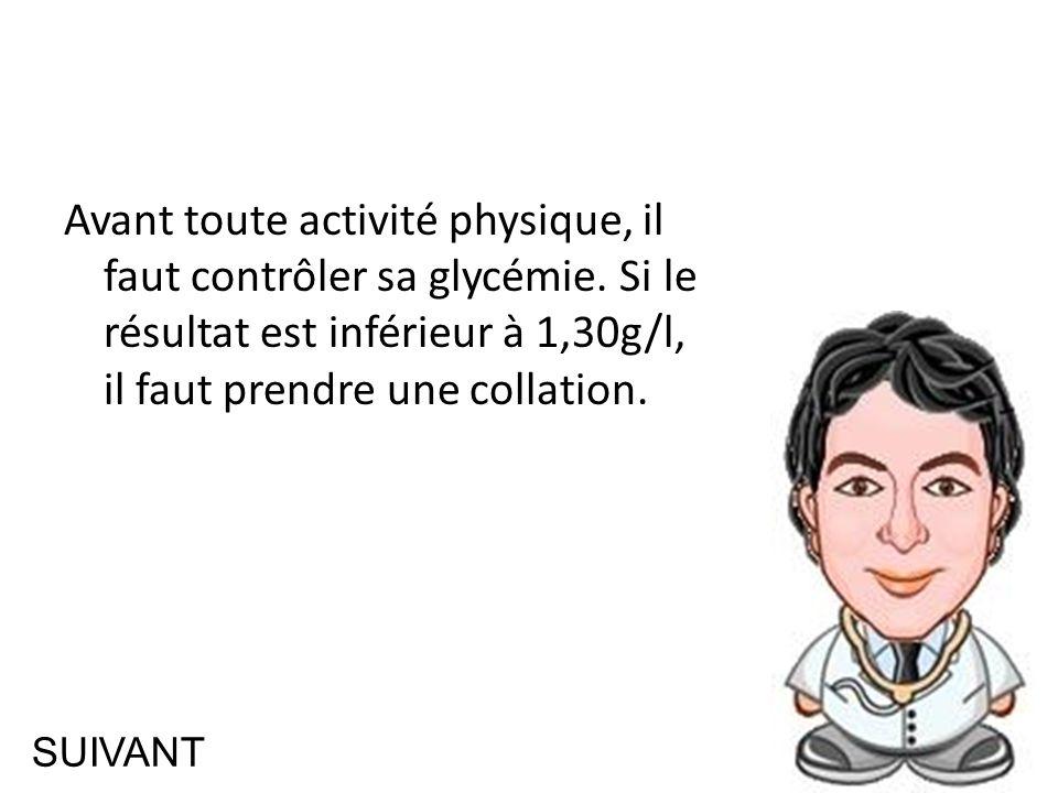 SUIVANT Avant toute activité physique, il faut contrôler sa glycémie.