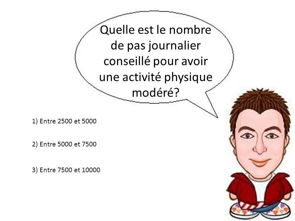 Quelle est le nombre de pas journalier conseillé pour avoir une activité physique modéré? 3) Entre 7500 et 10000 2) Entre 5000 et 7500 1) Entre 2500 e
