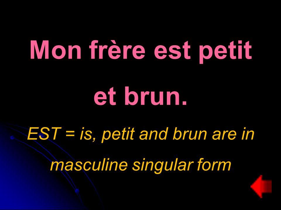 Mon frère est petit et brun. EST = is, petit and brun are in masculine singular form