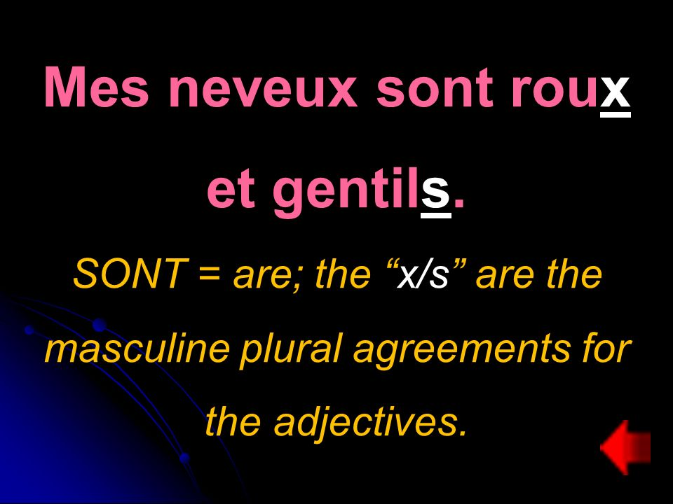Mes neveux sont roux et gentils. SONT = are; the x/s are the masculine plural agreements for the adjectives.