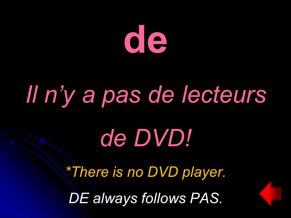 de Il ny a pas de lecteurs de DVD! *There is no DVD player. DE always follows PAS.