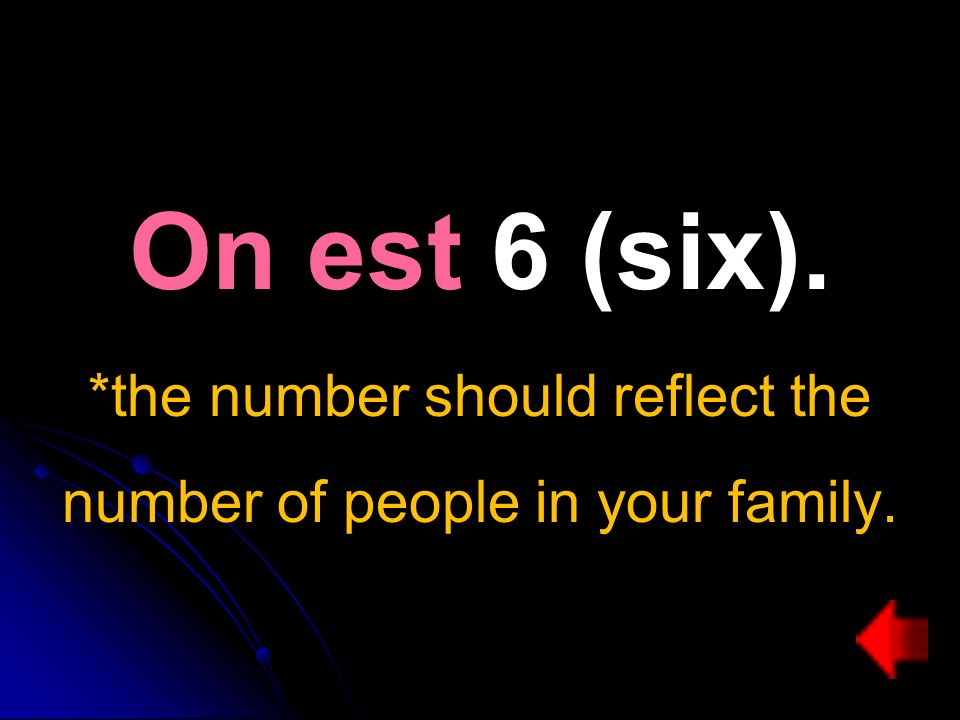 On est 6 (six). *the number should reflect the number of people in your family.