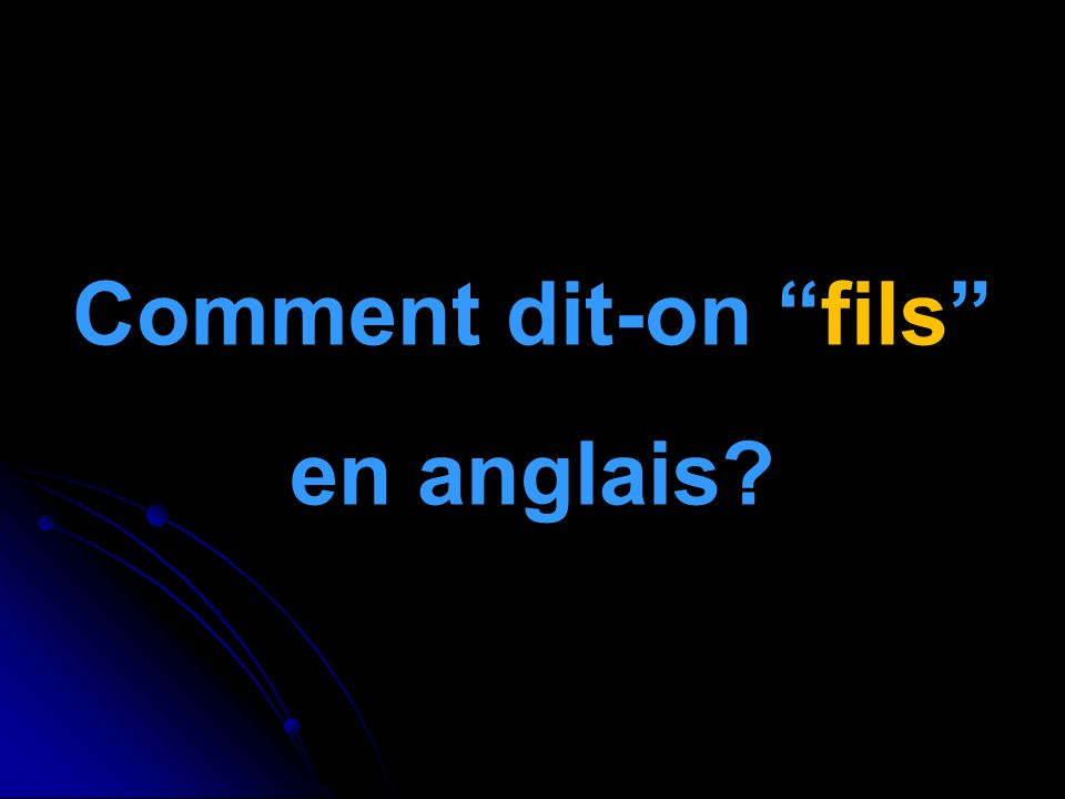 Comment dit-on fils en anglais