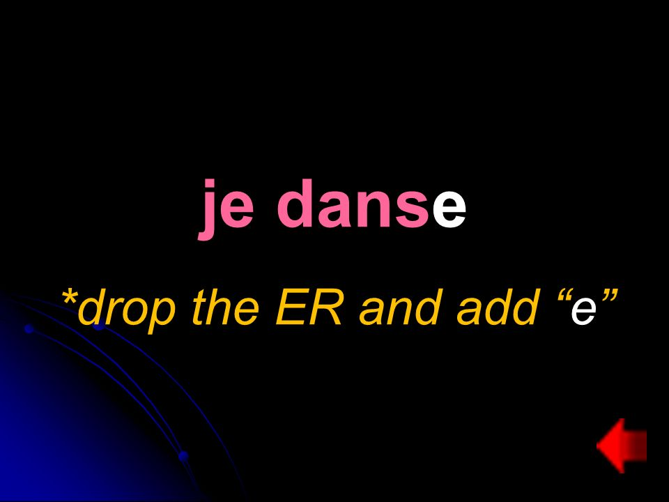je danse *drop the ER and add e