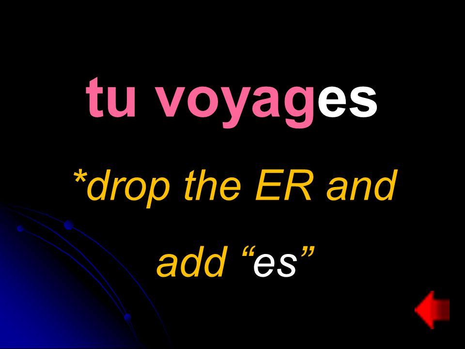 tu voyages *drop the ER and add es