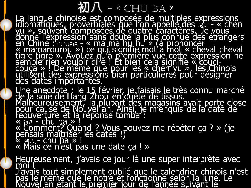 - « Chu ba » Bonne année du cochon !!! La langue chinoise est composée de multiples expressions idiomatiques, proverbiales que lon appelle des - « che