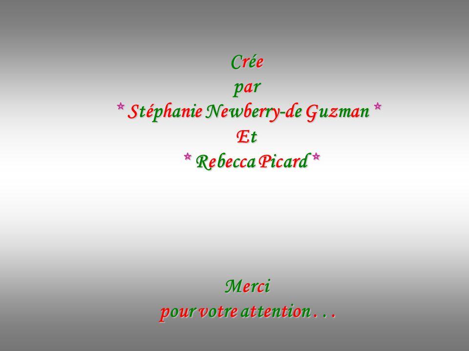 Crée par * Stéphanie Newberry-de Guzman * Et * Rebecca Picard * Merci pour votre attention...