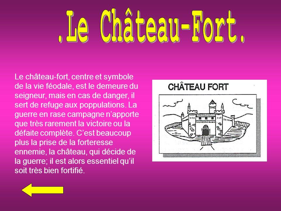 Le château-fort, centre et symbole de la vie féodale, est le demeure du seigneur, mais en cas de danger, il sert de refuge aux poppulations.