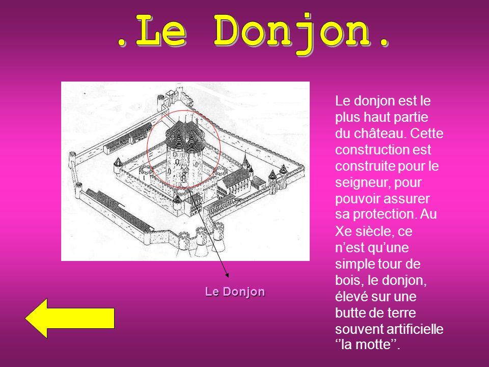 Le donjon est le plus haut partie du château.